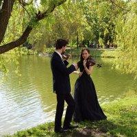 Фотосессия скрипачей на берегу пруда. :: Татьяна Помогалова
