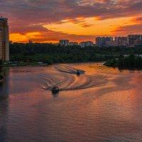 Москва-река. Катера и утки. :: Владимир Безбородов