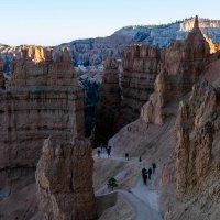 Вечер. Спускаемся всё ниже и ниже по тропе индейцев в каньон Брайс (США) :: Юрий Поляков