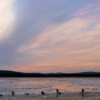 Рассвет над Амуром и рыбаки у самой кромки льда. :: Виктор Иванович