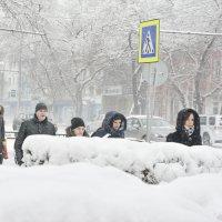 Снег в городе. :: юрий Амосов