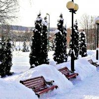 Парковый интерьер лавочки и фонари. :: Михаил Столяров