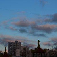 Розовые облака над городом :: Людмила Монахова