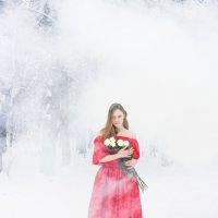 Девушка в тумане / в дыму в красном платье :: Ирина Вайнбранд