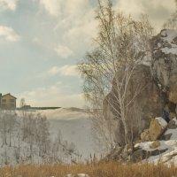 Дом и камень на берегу Исети. :: Михаил Полыгалов