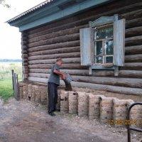 Засыпка фигурной завалинки :: Светлана Рябова-Шатунова