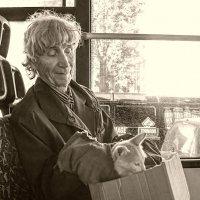 Гражданин с непослушным котиком в троллейбусе :: delete