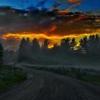 Карелия. Леппясюрья. Вечерний туман по дороге в Суйстамо. :: Владимир Ильич Батарин