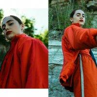 Девушка в оранжевой одежде с необычным макияжем :: Lenar Abdrakhmanov