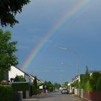 ...Радость, видите, какая! В небе радуга сияет!... :: Galina Dzubina