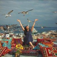 Стамбул, девушка, Босфор, чайки :: Ирина Лепнёва