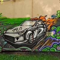 Крутая тачка граффити около Дворца культуры им. И.М. Астахова :: Александр Качалин