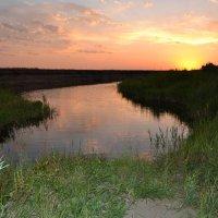 Закат...Река в степи :: Хлопонин Андрей Хлопонин Андрей