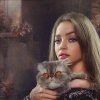 Девушка с котом :: Ирина Антонова