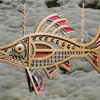"""Арт-объект """"Хариус"""" под мостом над рекой Чибью, скоро будет пополнение из похожих рыб :: Николай Зиновьев"""