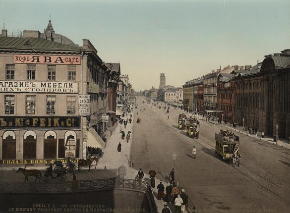 Неизвестный автор. Санкт-Петербург. Невский проспект. Вид из ресторана Лежен. 1900 – 1910-е. Фотохром
