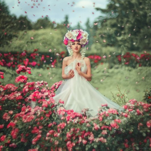 портреты красивых девушек с цветами