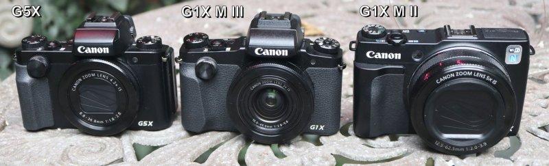 Сравнение внешнего вида компактных камер премиум-класса Canon G5X, Canon G1X Mark III и Canon G1X Mark II