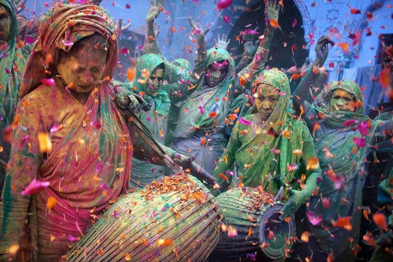 Праздник красок Холи, Вриндаван, Индия