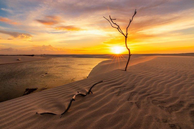 Закат над оазисом посреди национального парка Ленсойс-Мараньенсис в Бразилии. Автор фото: Бруно Ноногаки.