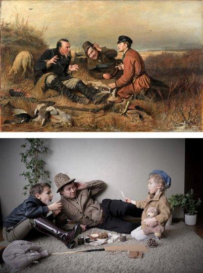 Люди изображают героев знаменитых картин - №18