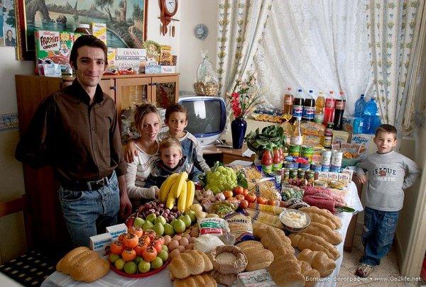 Недельный набор продуктов у разных народов в семейных фото - №11